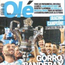 Coleccionismo deportivo: REVISTA ESPECIAL OLÉ (ARGENTINA) RACING CAMPEÓN SUPERLIGA 2018/19. Lote 254327485