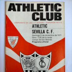Coleccionismo deportivo: PROGRAMA ATHLETIC CLUB - SEVILLA C. F. TEMPORADA 1971 - 1972. Lote 254739520