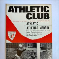Colecionismo desportivo: PROGRAMA ATHLETIC CLUB - ATLÉTICO MADRID TEMPORADA 1971 - 1972. Lote 254739995
