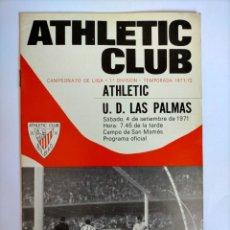 Coleccionismo deportivo: PROGRAMA ATHLETIC - U. D. LAS PALMAS TEMPORADA 1971 - 1972. Lote 254740210