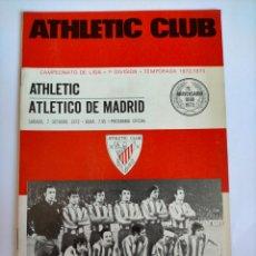 Coleccionismo deportivo: PROGRAMA ATHLETIC - ATLÉTICO DE MADRID TEMPORADA 1972 - 1973. Lote 254740890
