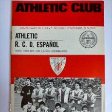 Coleccionismo deportivo: PROGRAMA ATHLETIC CLUB - R. C. D. ESPAÑOL TEMPORADA 1972 - 1973. Lote 254742490