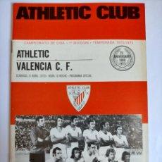 Coleccionismo deportivo: PROGRAMA ATHLETIC CLUB - VALENCIA C. F. TEMPORADA 1972 - 1973. Lote 254743085