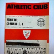 Coleccionismo deportivo: PROGRAMA ATHLETIC CLUB - GRANADA C. . TEMPORADA 1972 - 1973. Lote 254747875