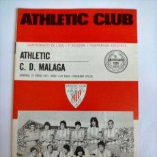 Coleccionismo deportivo: PROGRAMA ATHLETIC CLUB - C. D. MÁLAGA TEMPORADA 1972 - 1973. Lote 254748325