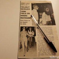 Coleccionismo deportivo: HELMUT BERGER Y BARBARA MASTROIANNI, FLORA MASTROIANNI RECORTE REVISTA 1973. Lote 262326330