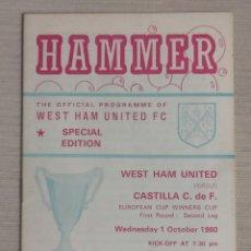 Coleccionismo deportivo: PROGRAMA WEST HAM - CASTILLA RECOPA EUROPA 1980 PARTIDO DE VUELTA. Lote 262975305