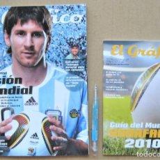 Collectionnisme sportif: REVISTA + GUIA EL GRAFICO ARGENTINA ESPECIAL MUNDIAL 2010 JUGADORES, EQUIPOS, ETC MAGAZINE REV390. Lote 264238400