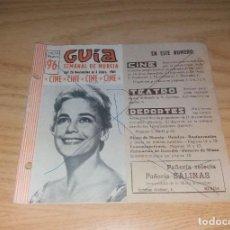 Coleccionismo deportivo: PAPEL ANTIGUO. GUÍA SEMANAL DE MURCIA, 26 NOVIEMBRE 1961. CON FOTO DEL JUGADOR DEL MURCIA GONZÁLEZ. Lote 265771019