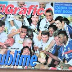Collectionnisme sportif: REVISTA EL GRAFICO ARGENTINA 14-6-98 ESPECIAL FRANCIA FRANCE CAMPEON MUNDIAL 1998 WORLD CUP REV55. Lote 266216403