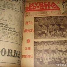 Collezionismo sportivo: 30 SEMANARIO PERIODICO MURCIA DEPORTIVA . FUTBOL . LIGA 1946 . REVISTA DEL 104 AL 134 ENCUADERNADO. Lote 275052878