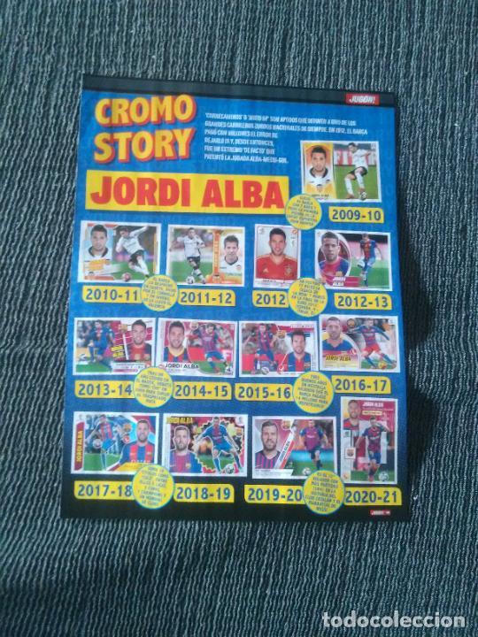 JORDI ALBA CROMO STORY BARCELONA BARÇA + MILITAO REAL MADRID TIPO PÓSTER 1 PÁG REVISTA JUGÓN (Coleccionismo Deportivo - Revistas y Periódicos - otros Fútbol)