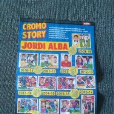 Coleccionismo deportivo: JORDI ALBA CROMO STORY BARCELONA BARÇA + MILITAO REAL MADRID TIPO PÓSTER 1 PÁG REVISTA JUGÓN. Lote 278629168