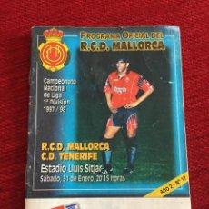 Coleccionismo deportivo: PROGRAMA OFICIAL REAL MALLORCA TENERIFE LIGA TEMPORADA 1997 1998. Lote 289329383