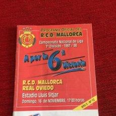Coleccionismo deportivo: PROGRAMA OFICIAL REAL MALLORCA REAL OVIEDO LIGA TEMPORADA 1997 1998. Lote 289330883