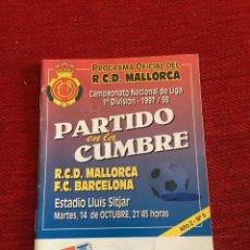 Coleccionismo deportivo: PROGRAMA OFICIAL REAL MALLORCA BARCELONA LIGA TEMPORADA 1997 1998. Lote 289331298