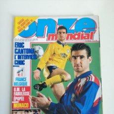 Coleccionismo deportivo: REVISTA ONZE MONDIAL, ABRIL 1992 CANTONA, EURO 92, POSTER, FICHAS, GENTO, ETC. Lote 292355303