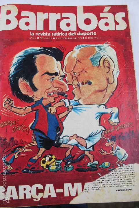 L-3872. REVISTA BARRABÁS ENCUADERNADA. 5 TOMOS. AÑOS 1972 A 1974. DESDE NUMERO 1. (Coleccionismo Deportivo - Revistas y Periódicos - Barrabás)