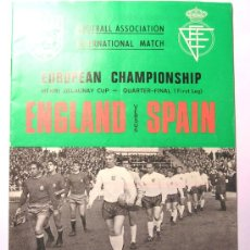 Coleccionismo deportivo: PROGRAMA INGLATERRA -ESPAÑA 1968 CLASIFICACION EUROCOPA. Lote 26789678