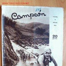 Coleccionismo deportivo: CAMPEÓN, REVISTA DE DEPORTES. Nº 141. 18 AGOSTO 1935. Lote 21725175