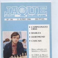 Coleccionismo deportivo: AJEDREZ. REVISTA JAQUE Nº 198. 15/JUNIO/1986. Lote 23454419