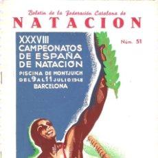 Coleccionismo deportivo: BOLETIN FEDERACION CATALANA NATACION Nº 51 1948. Lote 24763799