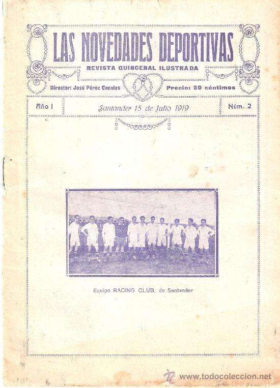 LAS NOVEDADES DEPORTIVAS-REVISTA QUINCENAL ILUSTRADA-MED. 15X21CM. SANTANDER AÑO 1919-NUM 2- (V-32) (Coleccionismo Deportivo - Revistas y Periódicos - otros Deportes)