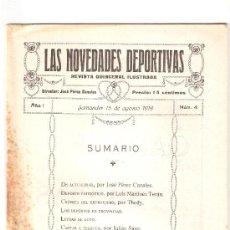 Coleccionismo deportivo: LAS NOVEDADES DEPORTIVAS-REVISTA QUINCENAL ILUSTRADA-MED. 15X21CM. SANTANDER AÑO 1919-NUM 4- (V-34) . Lote 26350206