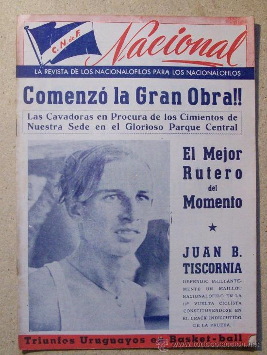 1953 REVISTA CLUB NACIONAL DE FOOTBALL, FUTBOL URUGUAY. MAGAZINE N° 90 - JUAN TISCORNIA (CICLISMO) (Coleccionismo Deportivo - Revistas y Periódicos - otros Deportes)