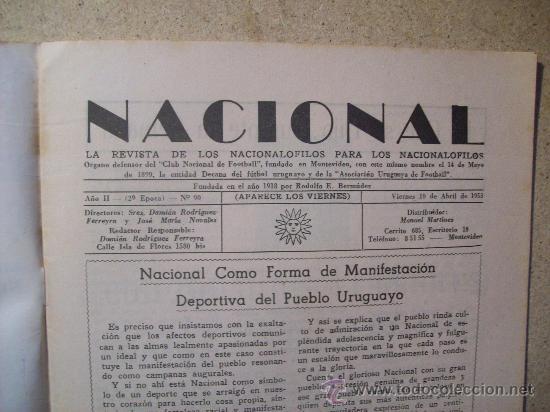 Coleccionismo deportivo: 1953 REVISTA CLUB NACIONAL DE FOOTBALL, FUTBOL URUGUAY. MAGAZINE N° 90 - JUAN TISCORNIA (CICLISMO) - Foto 3 - 26575710