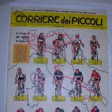 Coleccionismo deportivo: HOJA PERIÓDICO: 46º GIRO DE ITALIA - CORRIERE DEI PICCOLI. 1963. CICLISTAS ITALIANOS PARTICIPANTES. Lote 30540538