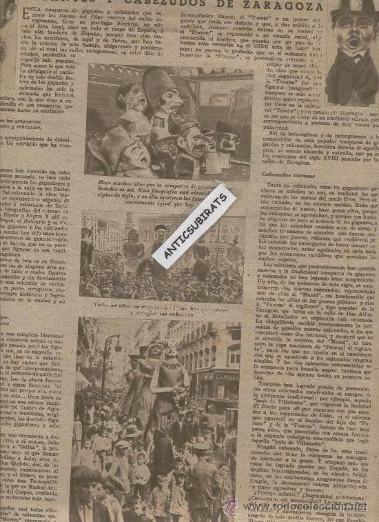 REVISTA AÑO 1944 HISTORIA DE LA COMPARSA DE GIGANTES Y CABEZUDOS DE ZARAGOZA LUCHA LIBRE FOTOS (Coleccionismo Deportivo - Revistas y Periódicos - otros Deportes)