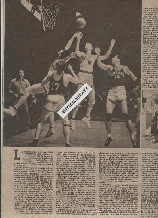 Coleccionismo deportivo: REVISTA AÑO 1945. LA ARMONICA FOTO CORPUS EN ALBOX GIGANTES DE GANDIA INVENTOR DEL BALONCESTO NAISMI - Foto 4 - 35543467