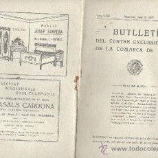 Coleccionismo deportivo: BUTLLETI CENTRE EXCURSIONISTA DE LA COMARCA DE BAGES - ANY XXIII Nº 110 MANRESA EN 1927 1935. Lote 35819006