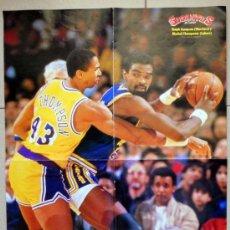 Coleccionismo deportivo: SUPER POSTER GIGANTES BALONCESTO 1988 NBA BASKETBALL LAKERS WARRIORS NBA VINTAGE ANTIGUO. Lote 37694971