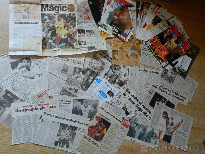 LOTE RECORTES DE MAGIC EARVIN JOHNSON ANGELES LAKERS NBA (Coleccionismo Deportivo - Revistas y Periódicos - otros Deportes)
