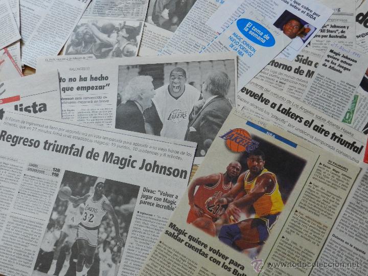 Coleccionismo deportivo: LOTE RECORTES DE MAGIC Earvin JOHNSON Angeles Lakers NBA - Foto 3 - 42540984