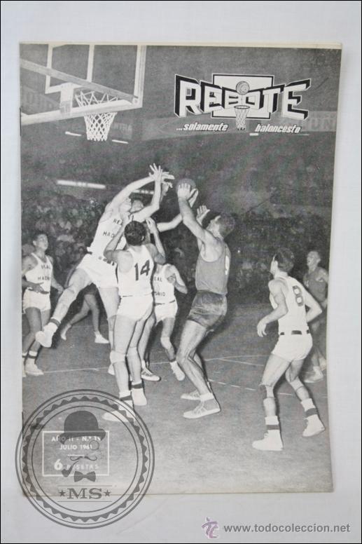 REVISTA DE BALONCESTO REBOTE - AÑO II. Nº 19 - JULIO 1961 - MEDIDAS 24,5 X 17,5 CM (Coleccionismo Deportivo - Revistas y Periódicos - otros Deportes)