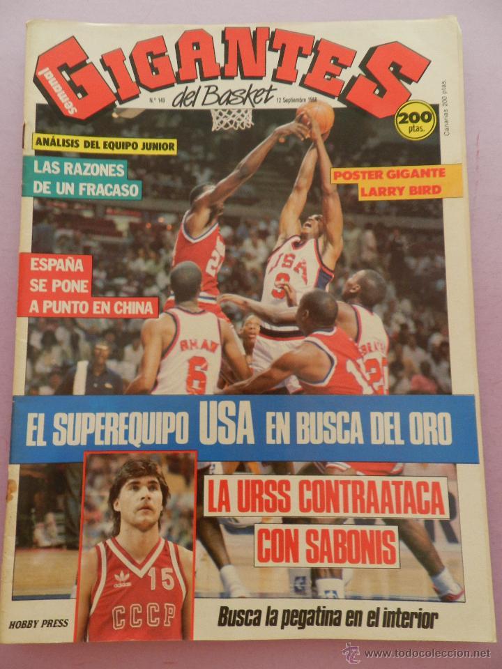 REVISTA GIGANTES DEL BASKET Nº 149-1988 EUROPEO JUNIOR-POSTER LARRY BIRD CELTICS NBA-SABONIS-USA (Coleccionismo Deportivo - Revistas y Periódicos - otros Deportes)