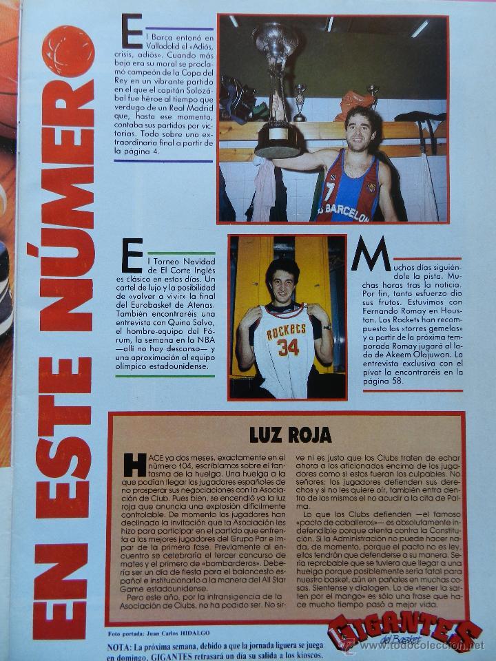 Coleccionismo deportivo: REVISTA GIGANTES DEL BASKET Nº 113 1988 ROMAY ROCKETS NBA-BARCELONA CAMPEON COPA REY-BIRD-BARKLEY - Foto 2 - 47348640