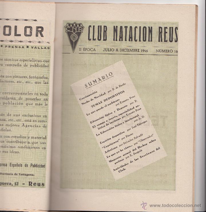 Coleccionismo deportivo: REVISTA CLUB NATACION REUS PLOMS AÑO 1947- MUCHA PUBLICIDAD DE LA ÉPOCA - Foto 2 - 47906240