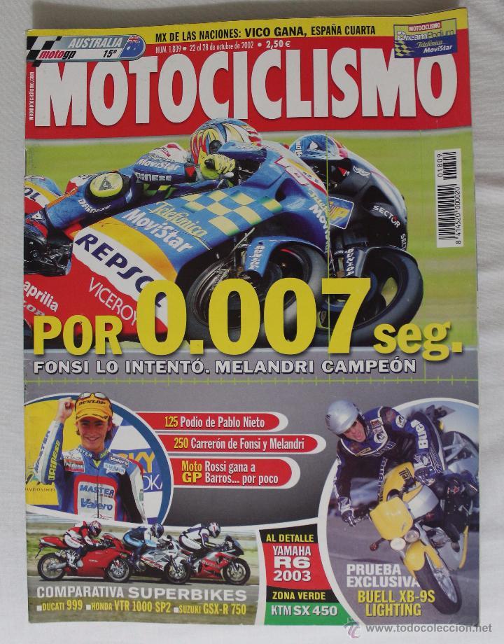 REVISTA MOTOCICLISMO Nº 1809. OCTUBRE 2002 (Coleccionismo Deportivo - Revistas y Periódicos - otros Deportes)