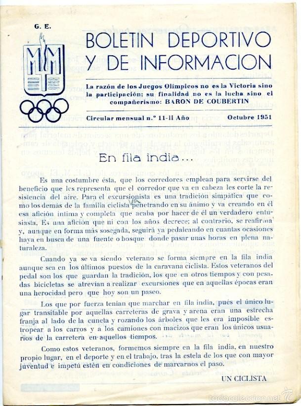 2 BOLETINES DEPORTIVOS DE LA MAQUINISTA, OCT Y NOV 1951. FÚTBOL, RUGBY, ATLETISMO, AJEDREZ.. (Coleccionismo Deportivo - Revistas y Periódicos - otros Deportes)