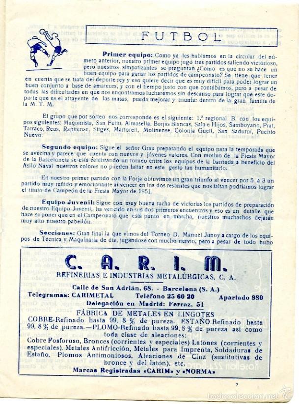 Coleccionismo deportivo: 2 boletines deportivos de La Maquinista, oct y nov 1951. Fútbol, Rugby, atletismo, ajedrez.. - Foto 3 - 55790972