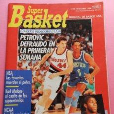 Coleccionismo deportivo: REVISTA SUPER BASKET Nº 7 1989 PETROVIC BLAZERS NBA-NCAA-POSTER CLYDE DREXLER-MALONE-SUPERBASKET . Lote 56595932
