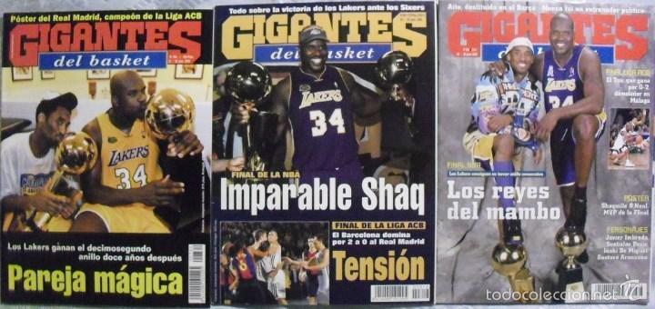 KOBE BRYANT & SHAQUILLE O'NEAL - REVISTAS ''GIGANTES DEL BASKET'' (THREEPEAT 2000-02) - LAKERS / NBA (Coleccionismo Deportivo - Revistas y Periódicos - otros Deportes)