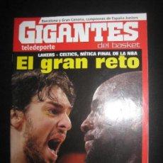 Coleccionismo deportivo: GIGANTES DEL BASKET Nº 1283. LAKERS - CELTICS, POSTERS: RICKY RUBIO Y J.C. NAVARRO. JUNIO 2010 . Lote 80968332