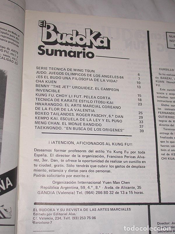 Coleccionismo deportivo: EL BUDOKA REVISTA DE ARTES MARCIALES Nº 122. NOVIEMBRE 1984. BENNY URQUIDEZ. HWARANGDO. WING TSUN. + - Foto 2 - 83026696