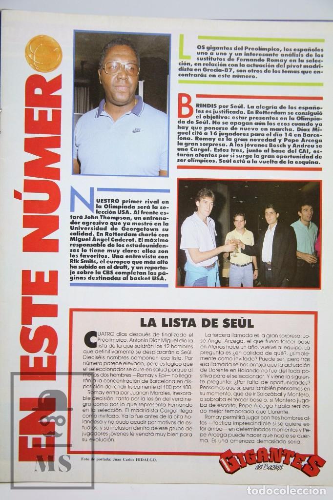 Coleccionismo deportivo: Revista de Baloncesto sin Póster - Gigantes del Basket. Fernando Romay - Nº 142, 1988 - Hobby Press - Foto 2 - 91238540