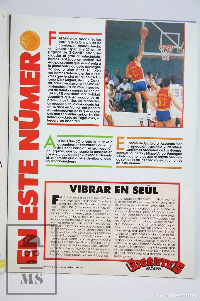Coleccionismo deportivo: Revista de Baloncesto con Póster - Gigantes del Basket. Especial Seul - Nº 150, 1988 - Hobby Press - Foto 5 - 91250075